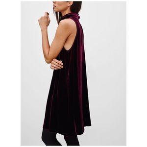 Aritzia Wilfred Poncet velvet burgundy dress